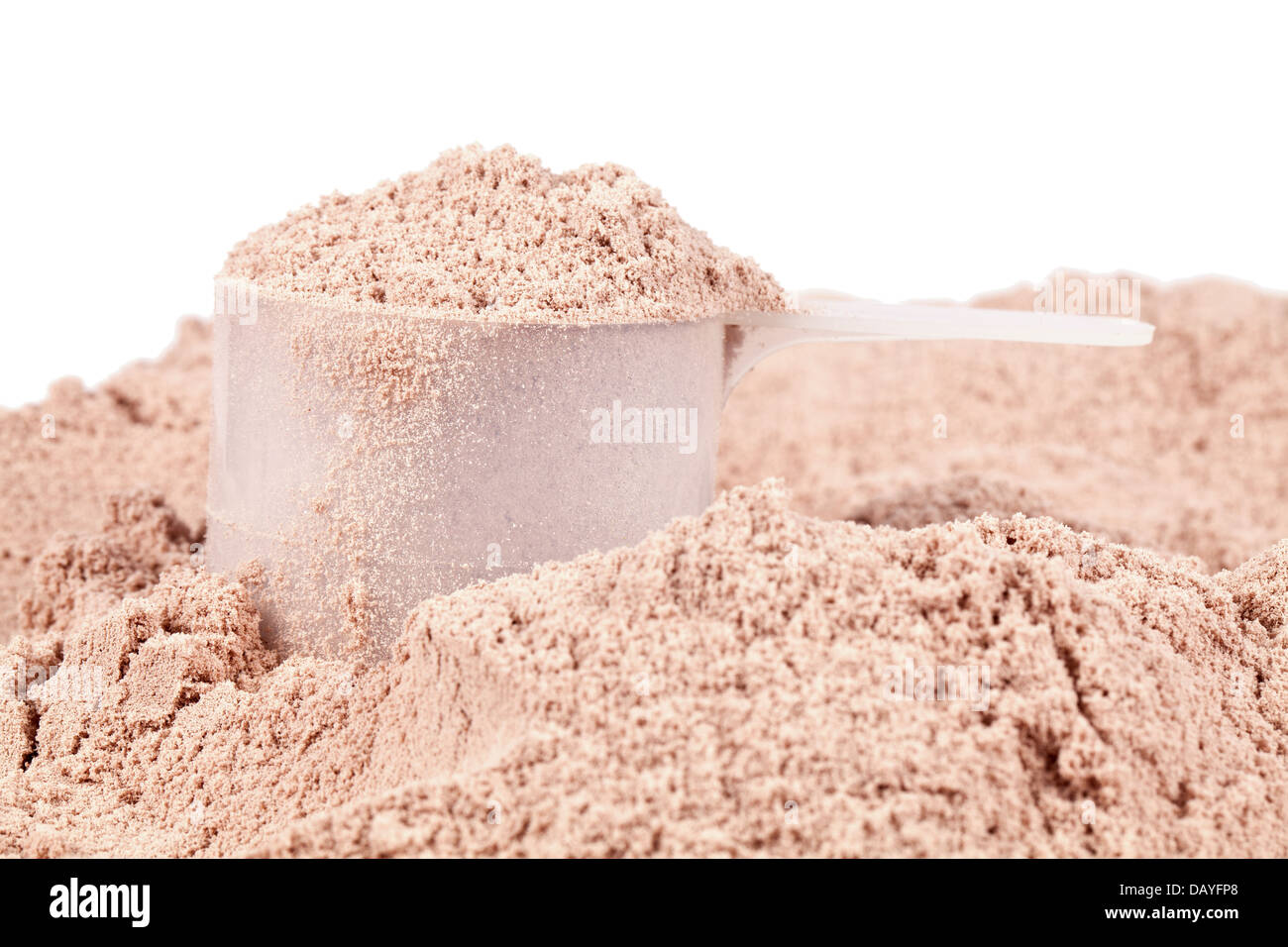 A scoop of chocolate whey isolate protein - Stock Image