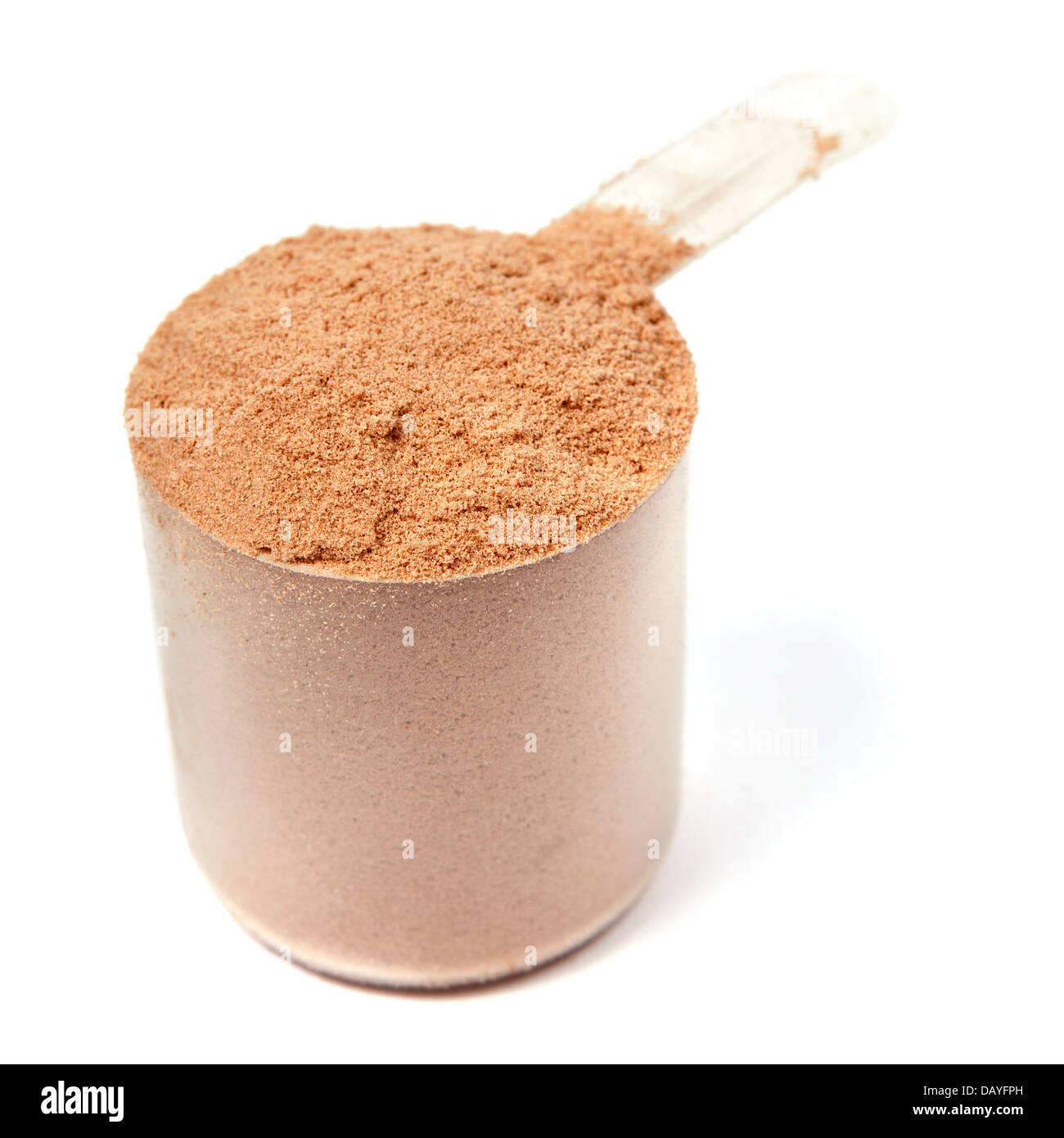 A scoop of chocolate whey protein powder isolated on white background - Stock Image