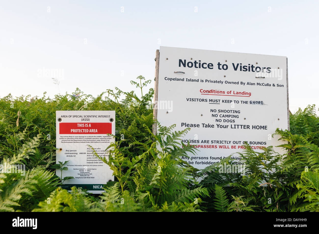 Rules for visitors to the Copeland Island - Stock Image