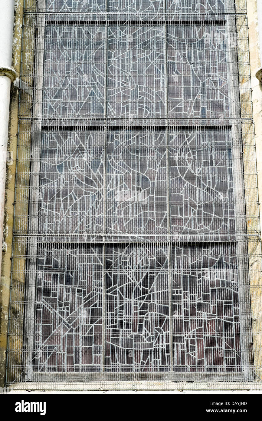 Protective metal wire mesh over stained glass window in Salisbury ...