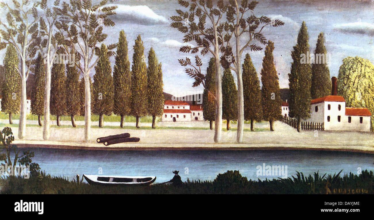Henri Rousseau - Le Douanier Rousseau Bords de rivière 1886 - Stock Image