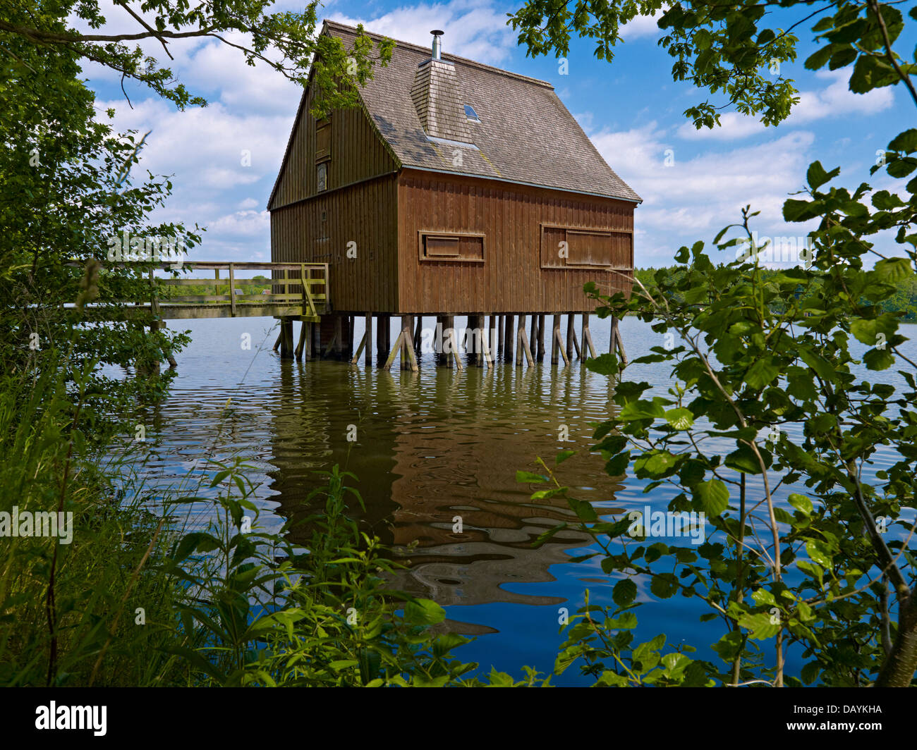 Stilt house in the Hausteich, Plothen ponds, Thuringia, Germany - Stock Image