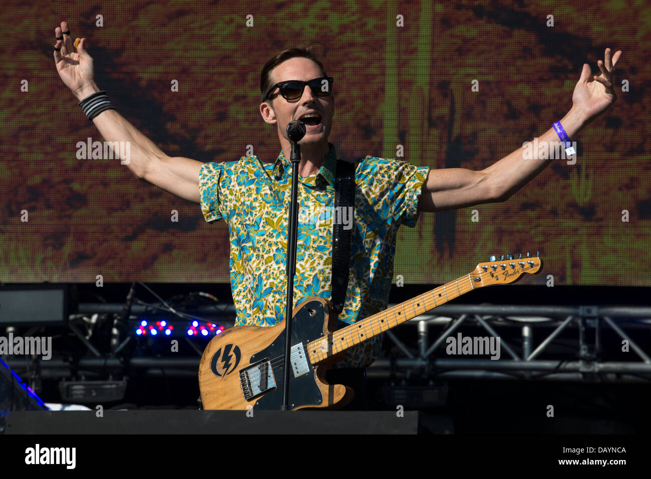 Dan Gillespie Sells, vocals and guitar, The Feeling Performs at Go Local, Queen Elizabeth Olympic Park, London. - Stock Image