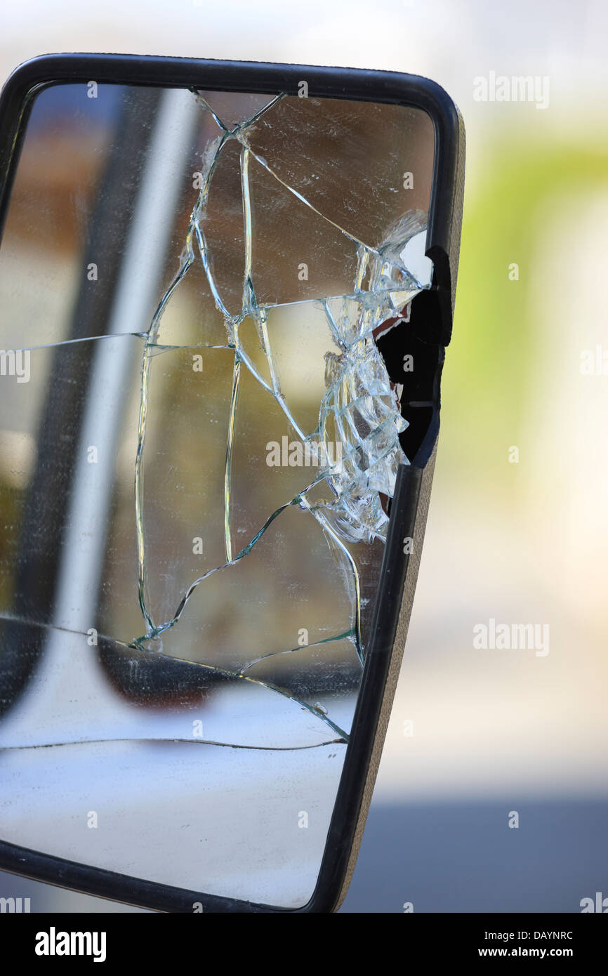 Broken wing mirror - Stock Image