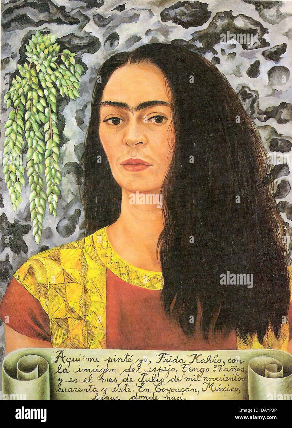 Frida Kahlo Self-portrait with inscription 1944 - Stock Image