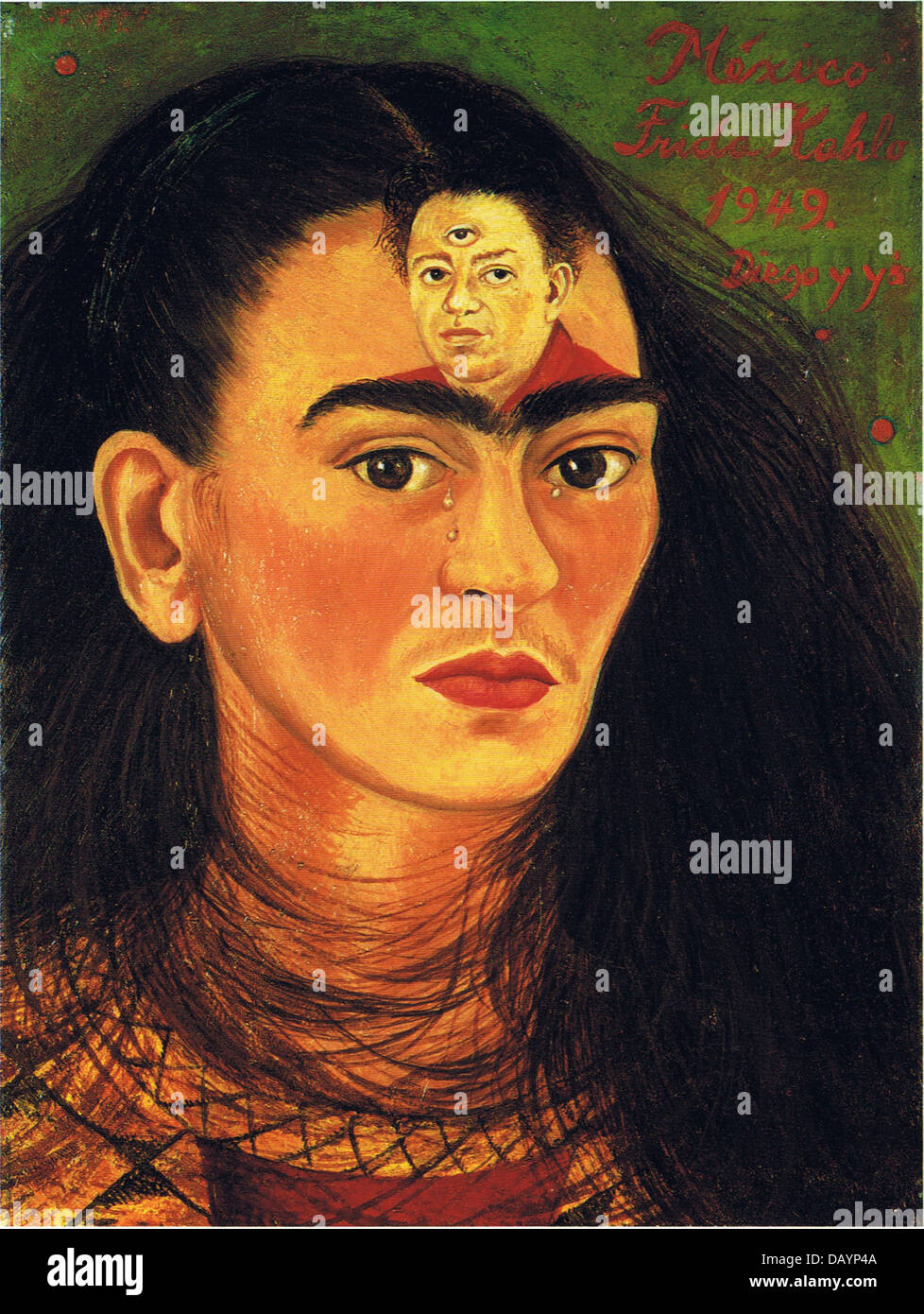 Frida Kahlo Self-portrait : Diego y yo 1949 - Stock Image