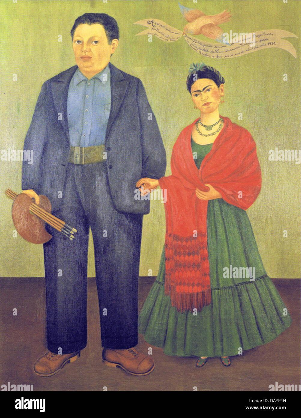 Frida Kahlo Frida Kahlo & Diego Rivera 1931 - Stock Image