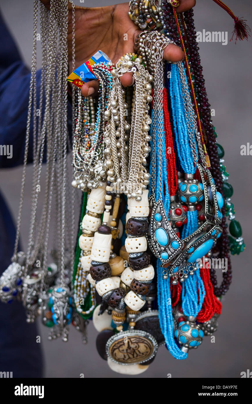 Souvenir jewelry in Fatehpur Sikri, India - Stock Image