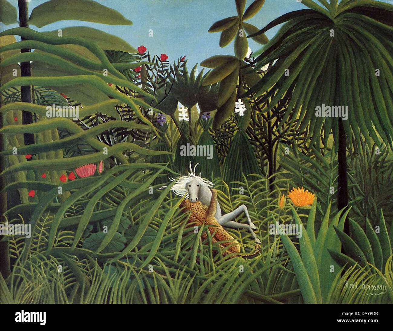 Henri Rousseau - Le Douanier Rousseau Horse attacked by a jaguar 1910 - Stock Image