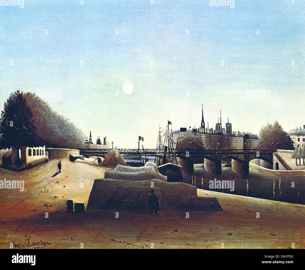 Henri Rousseau - Le Douanier Rousseau Vue de l'île Saint-Louis prise du port Saint-Nicolas 1888 - Stock Image
