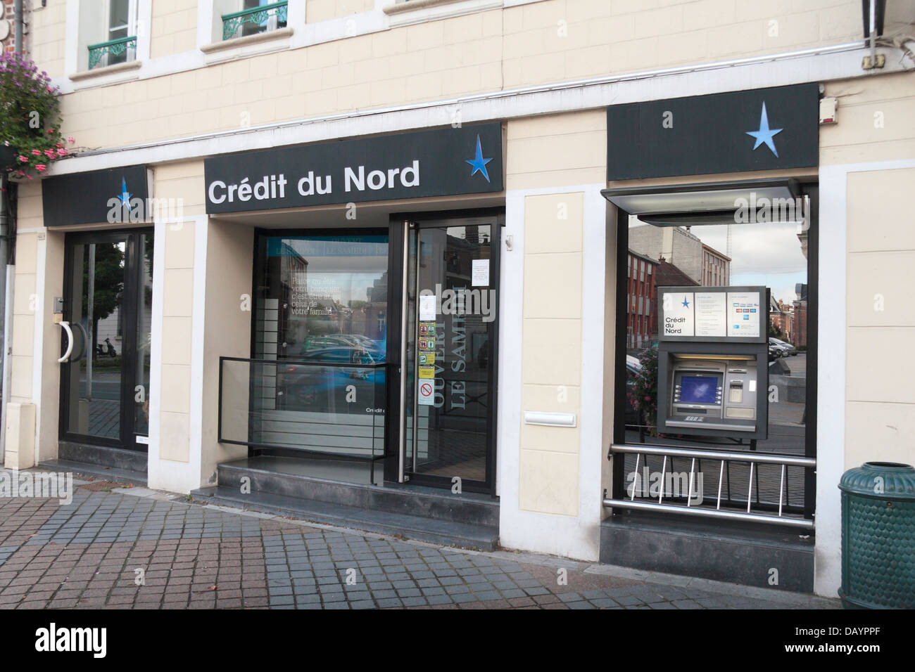 A Credit de Nord branch, a French retail banking network, in Doullens, Somme, Picardy, France. - Stock Image
