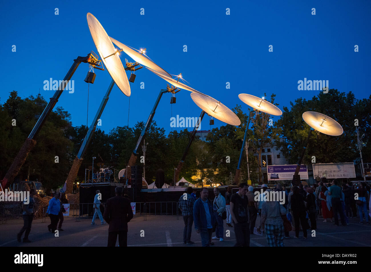 Cie Off company with their show Paraboles during Fifth B-FIT International Street Theater Festival in Bucharest, Stock Photo