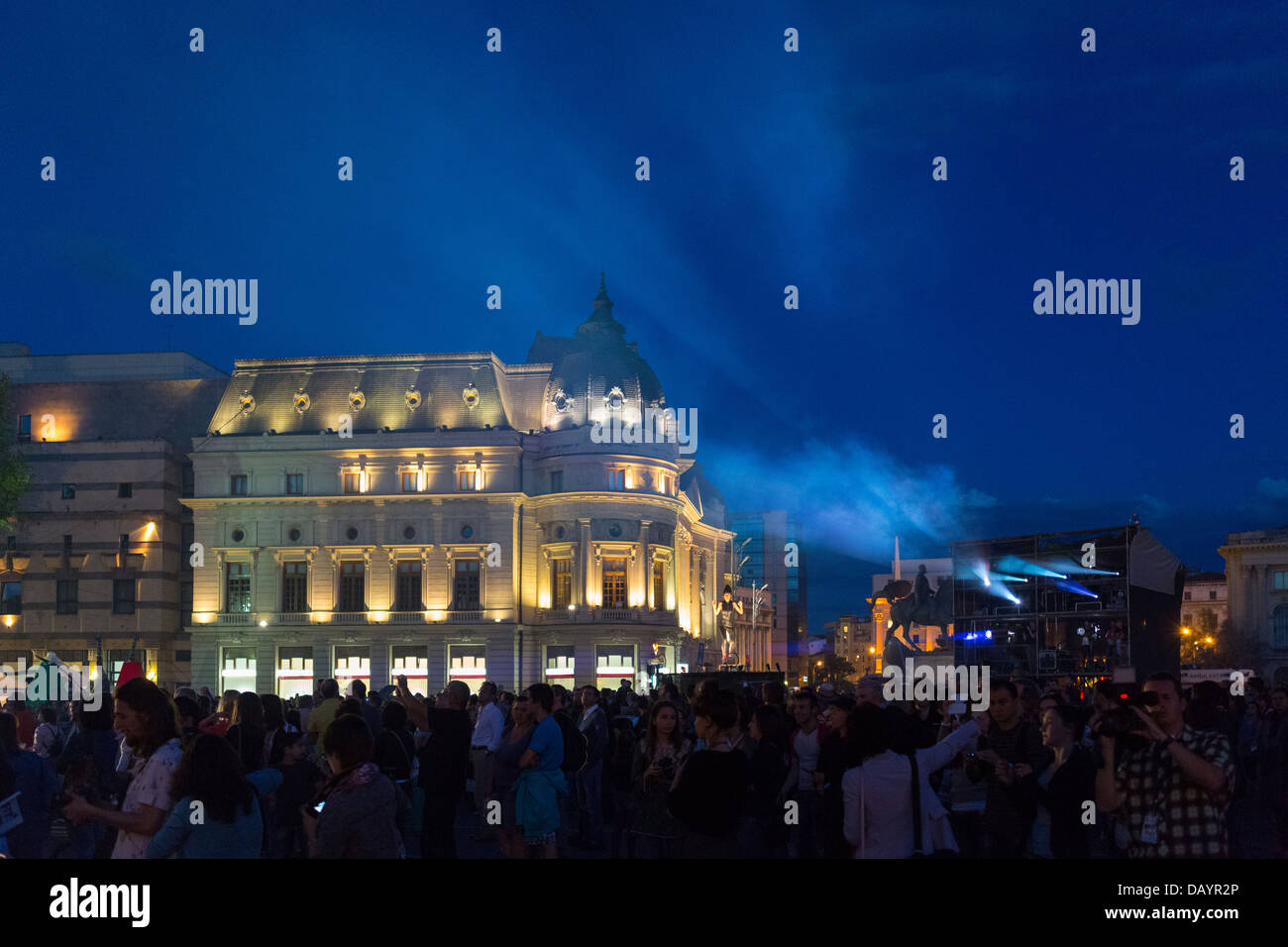 Large crowd at Cie Off company 'Paraboles' show during the Fifth B-FIT International Street Theater Festival. - Stock Image