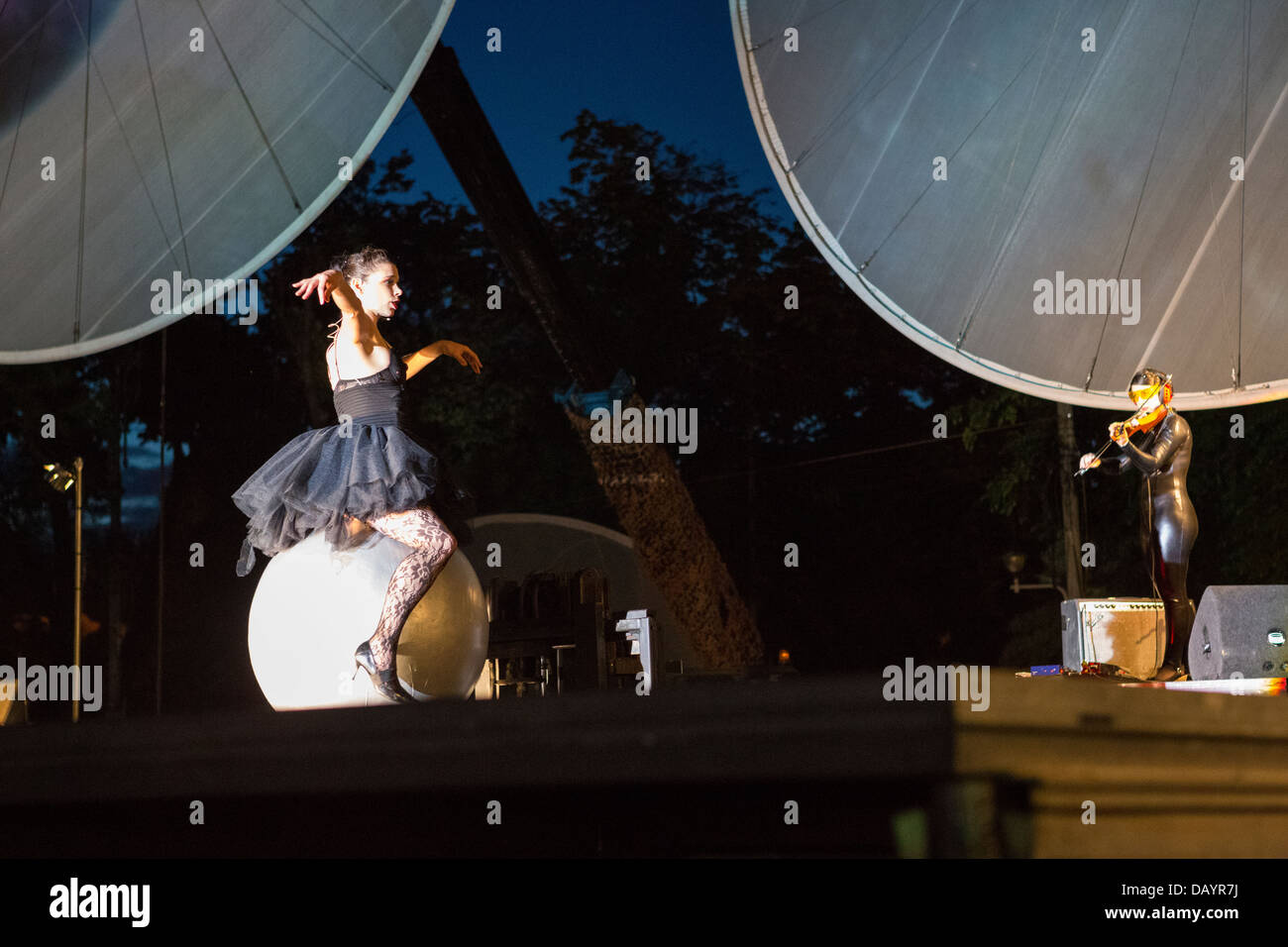 Cie Off company performs Paraboles show during the Fifth B-FIT International Street Theater Festival in Bucharest, - Stock Image