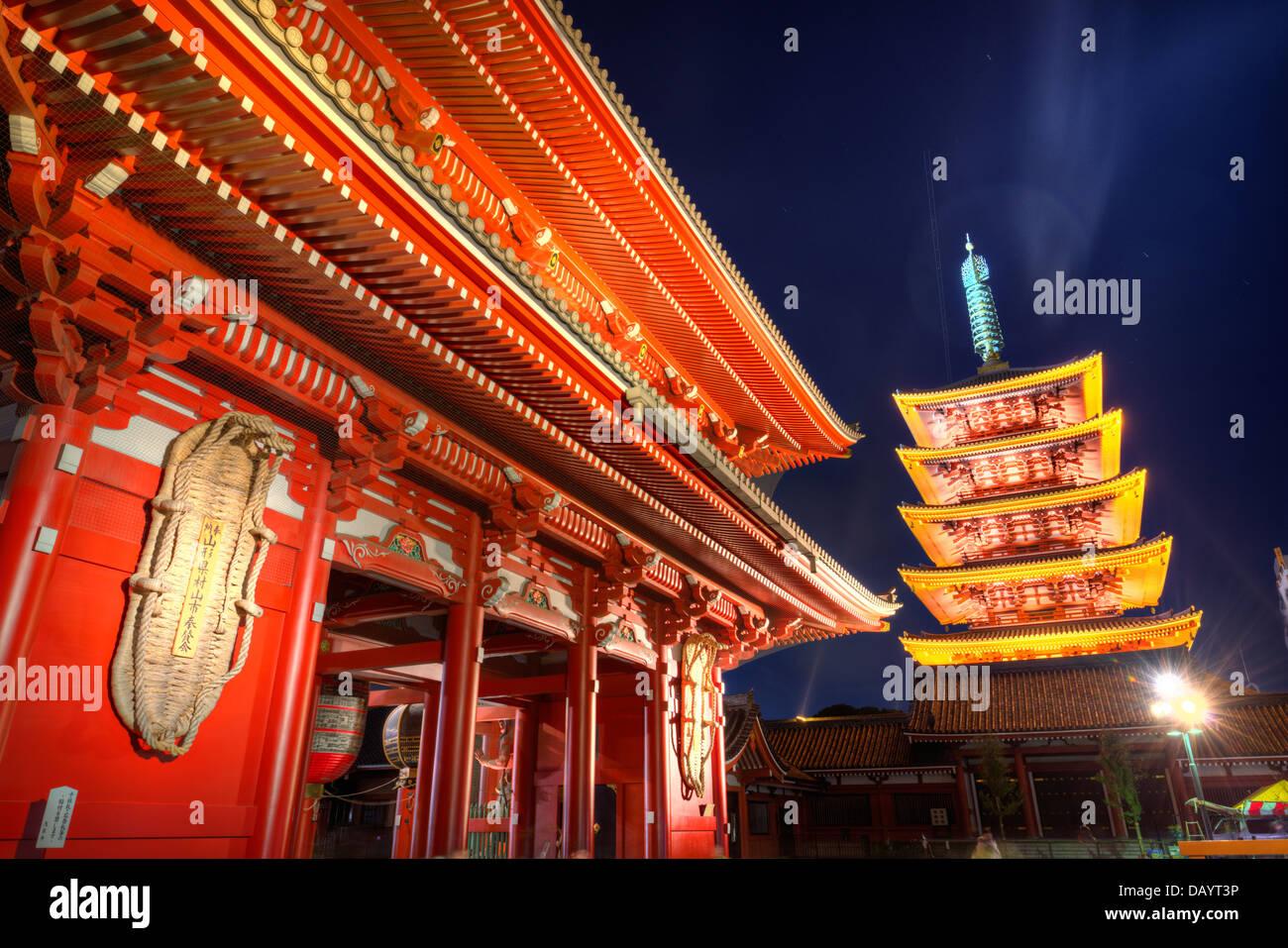 Gate and pagoda of Senso-ji shrine in Tokyo, Japan. Stock Photo