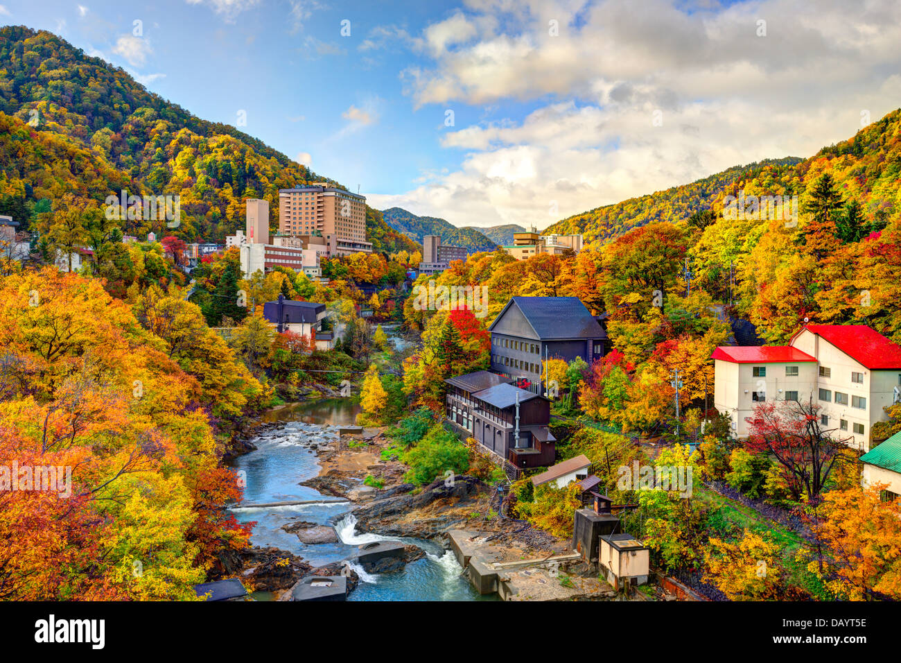 Hot springs resort town of Jozankei, Japan in the fall. - Stock Image
