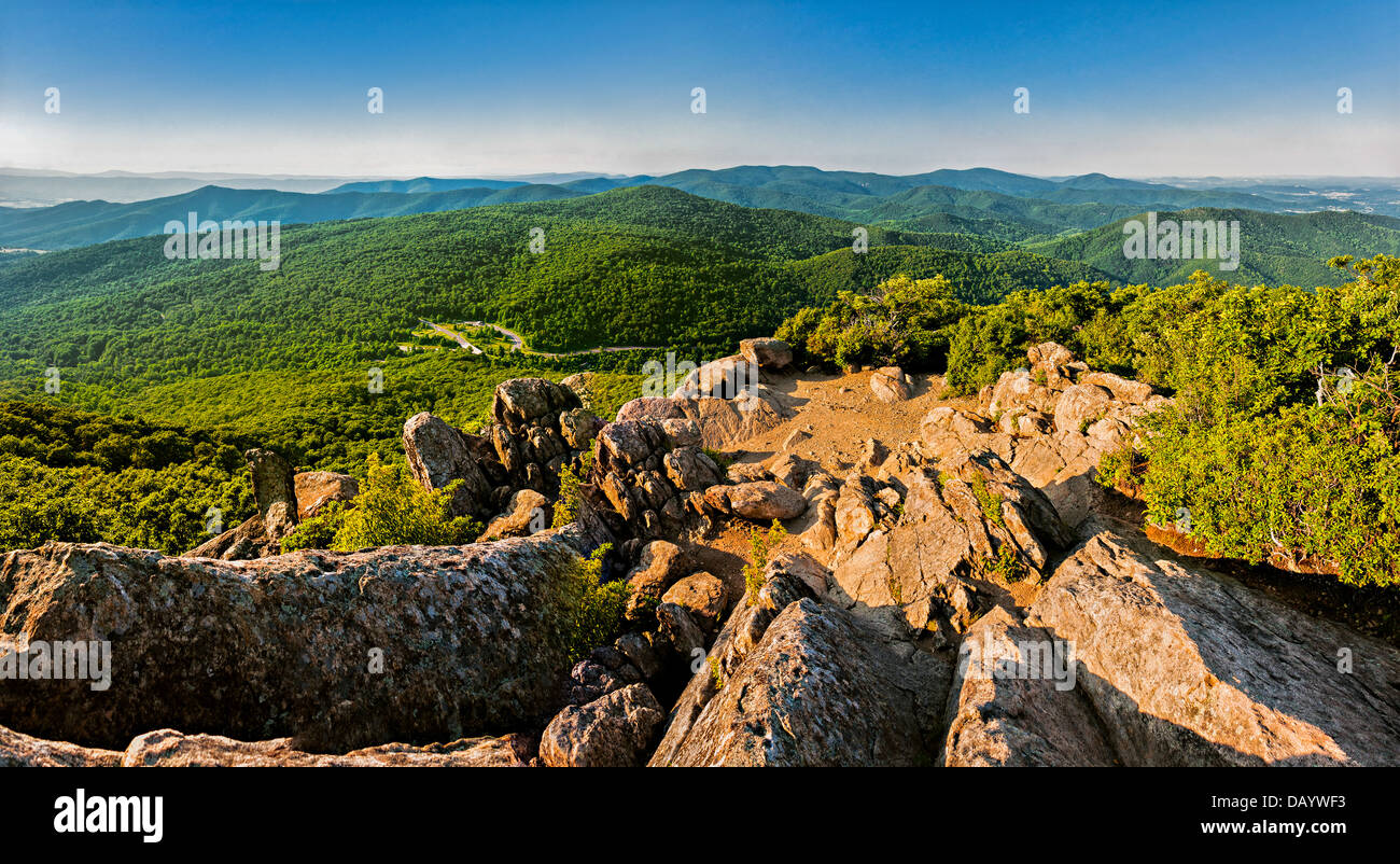 Evening view of the Blue Ridge Mountains from Mary's Rock, along the Appalachian Trail in Shenandoah National - Stock Image