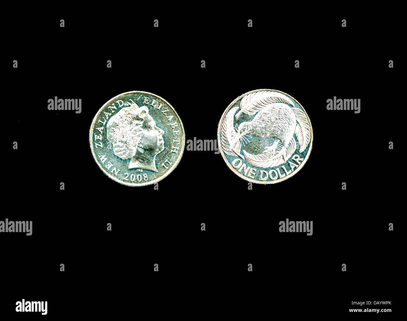 New Zealand Coins. One Dollar.  Queen Elizabeth and Kiwi. - Stock Image