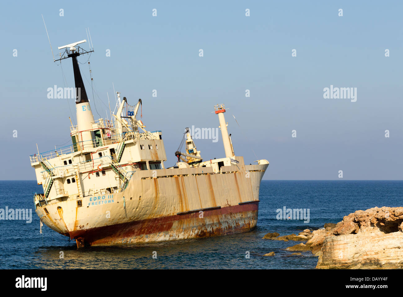 The Wreck of the Edro III, Sea Caves, Paphos - Stock Image