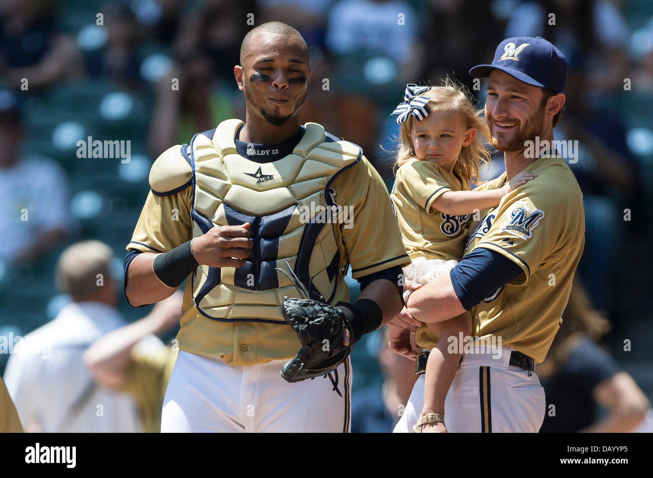 Milwaukee, Wisconsin, USA. 21st July, 2013. July 21, 2013: On Family Day at Miller Park Milwaukee Brewers Jonathan - Stock Image