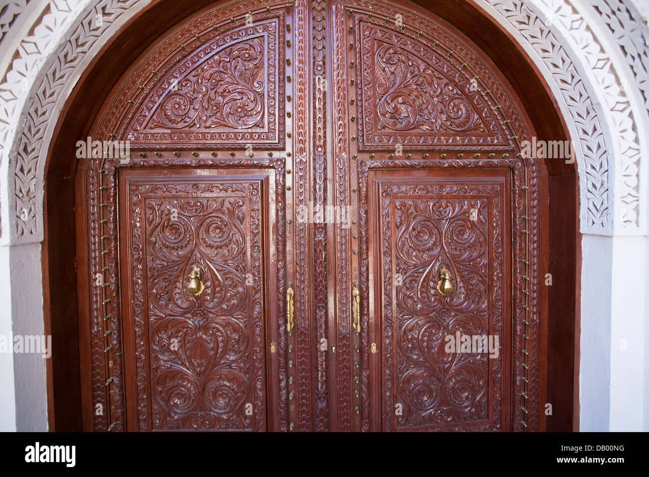 Ornately carved wooden doors Al-Tayibat City Museum for International Civilisation in Jeddah Saudi Arabia. & Ornately carved wooden doors Al-Tayibat City Museum for Stock Photo ...