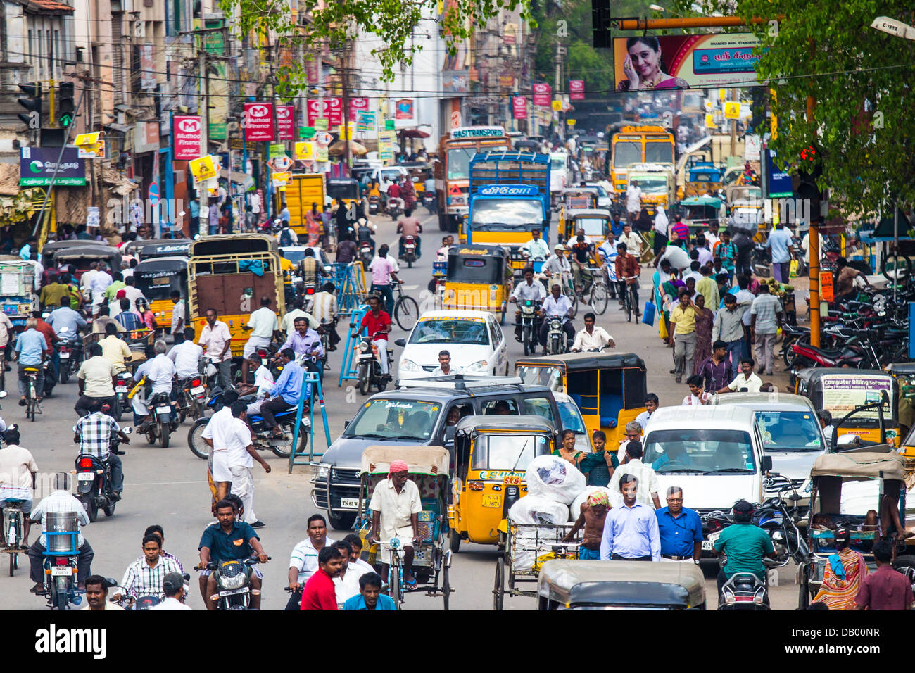 Busy street in Madurai, India - Stock Image