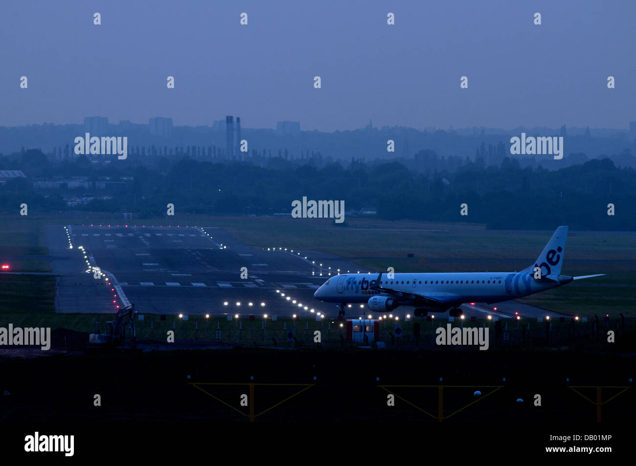 Flybe Embraer ERJ 195 About To Take Off At Birmingham Airport, UK   Stock