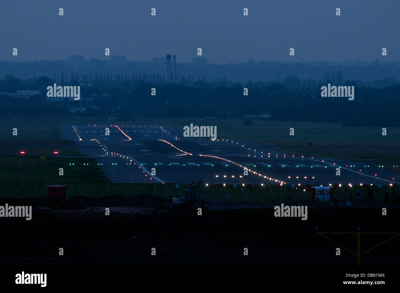 Birmingham Airport Runway Lights   Stock Image