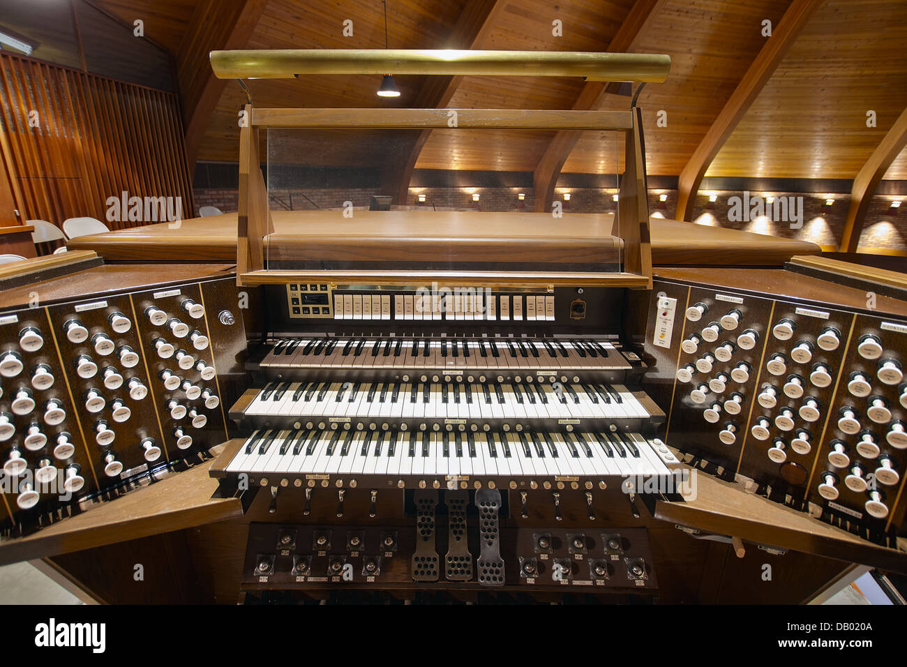 Church Pipe Organ Keyboards Pedalboard and Control Buttons - Stock Image
