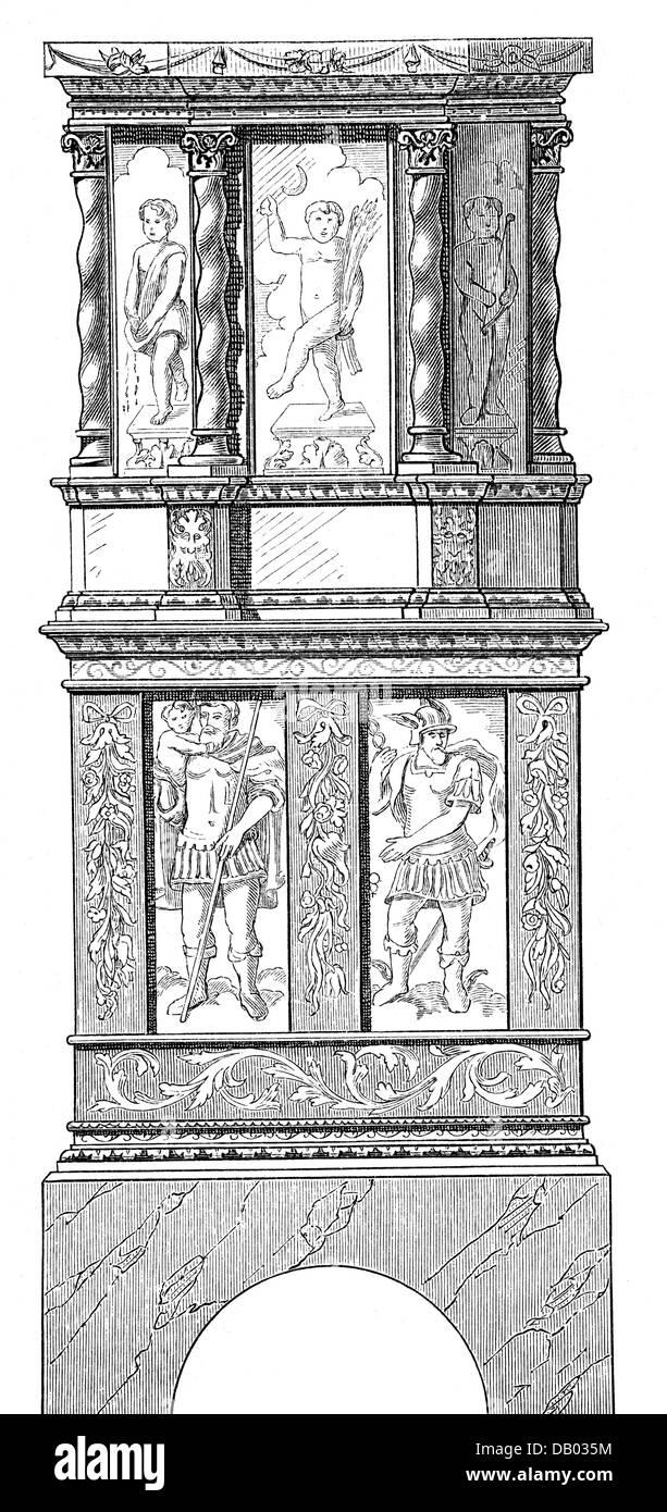 furnishings, stoves, Maiolica stove with Mezzo Tedesco, wood engraving, 19th century, masonry heater, masonry stoves, - Stock Image