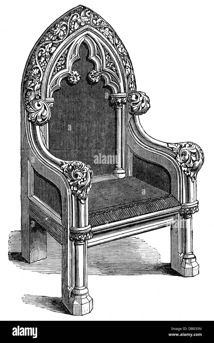 furnishings, chairs, gothic chair, by Williams and Lumsden, design ...