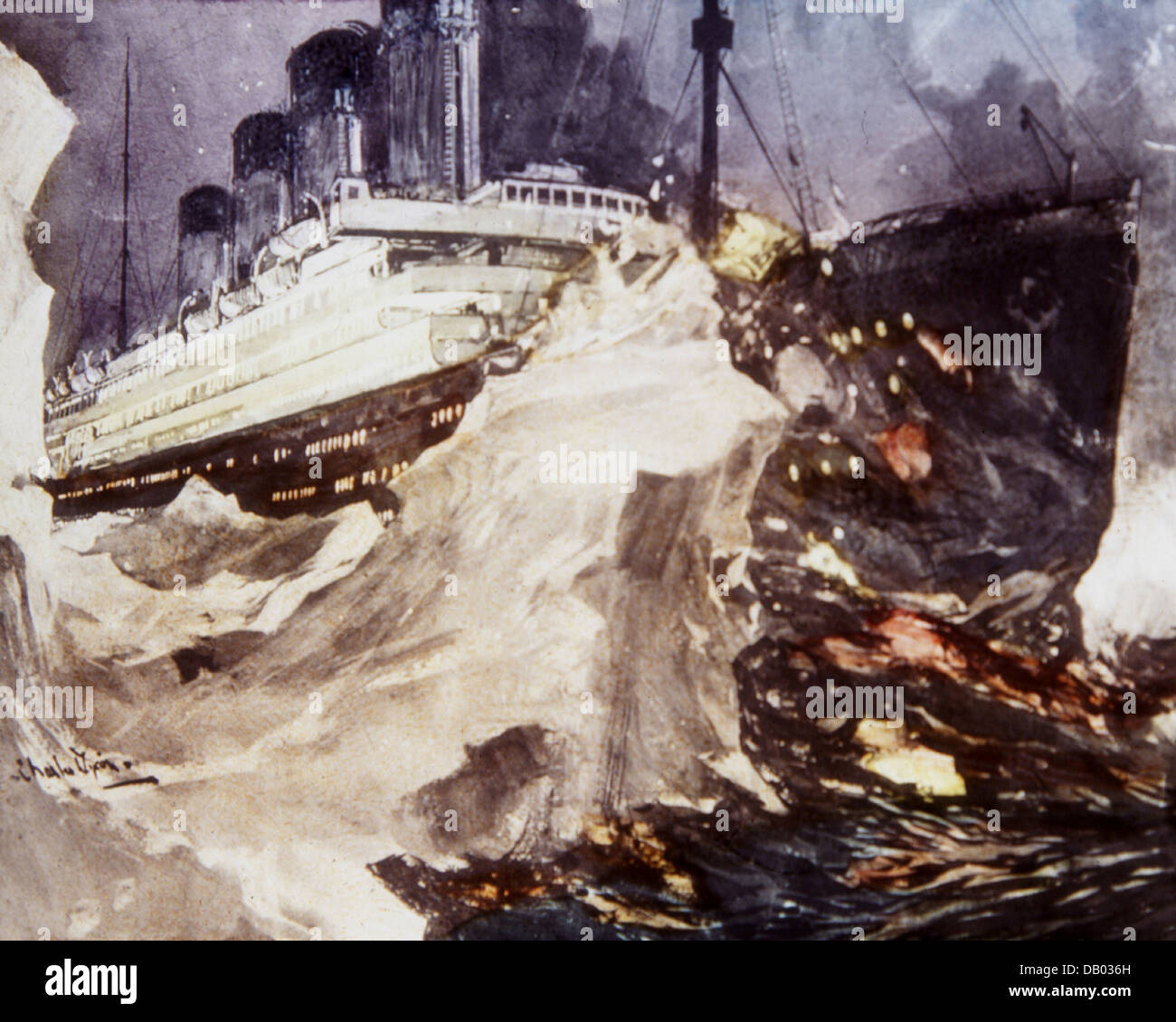 The Loss of the Titanic Magic Lantern Slide 1912 - Stock Image