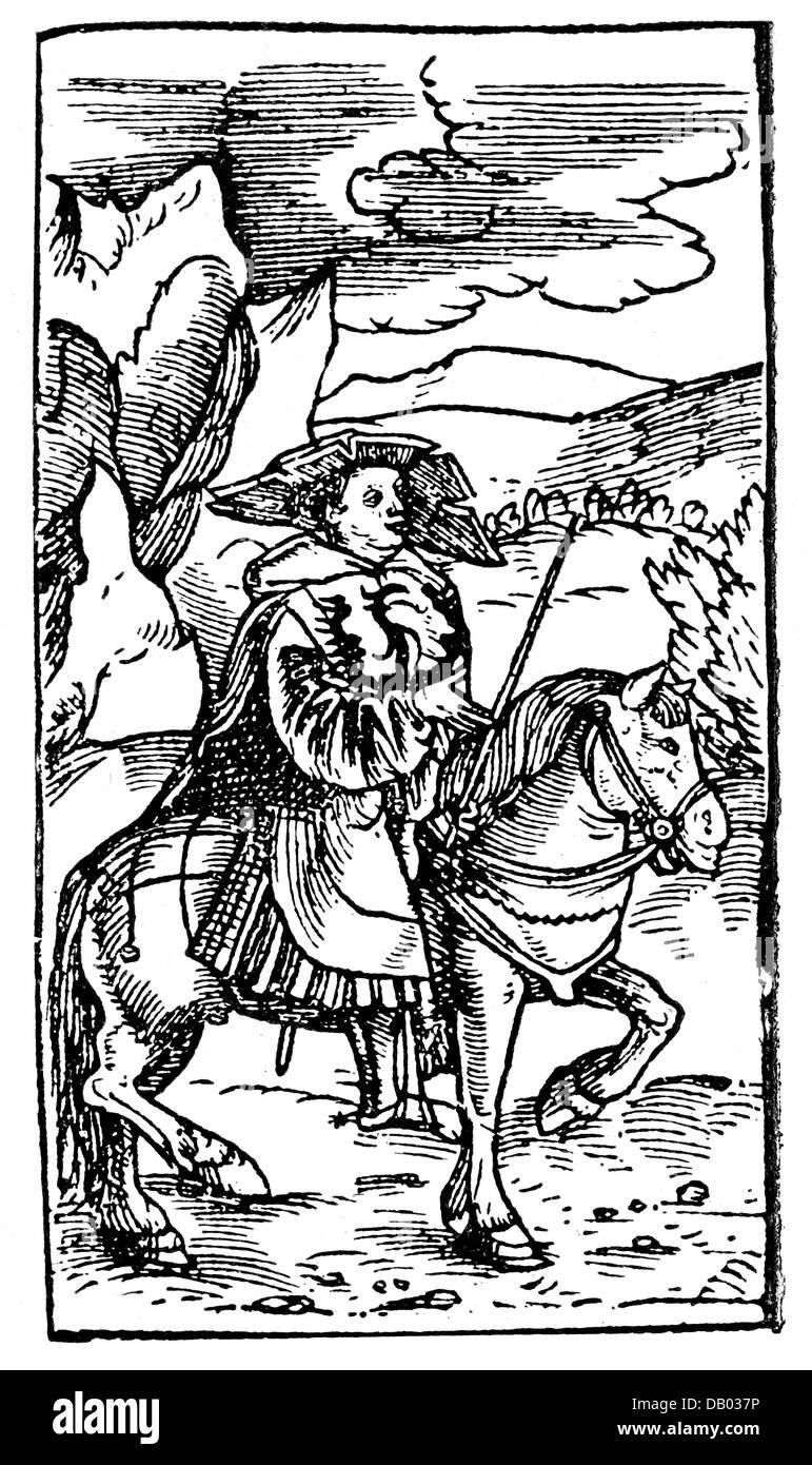 people, profession, messengers, herald, woodcut, from 'Warlicher bericht: wie von den dreyen Churfuersten und - Stock Image
