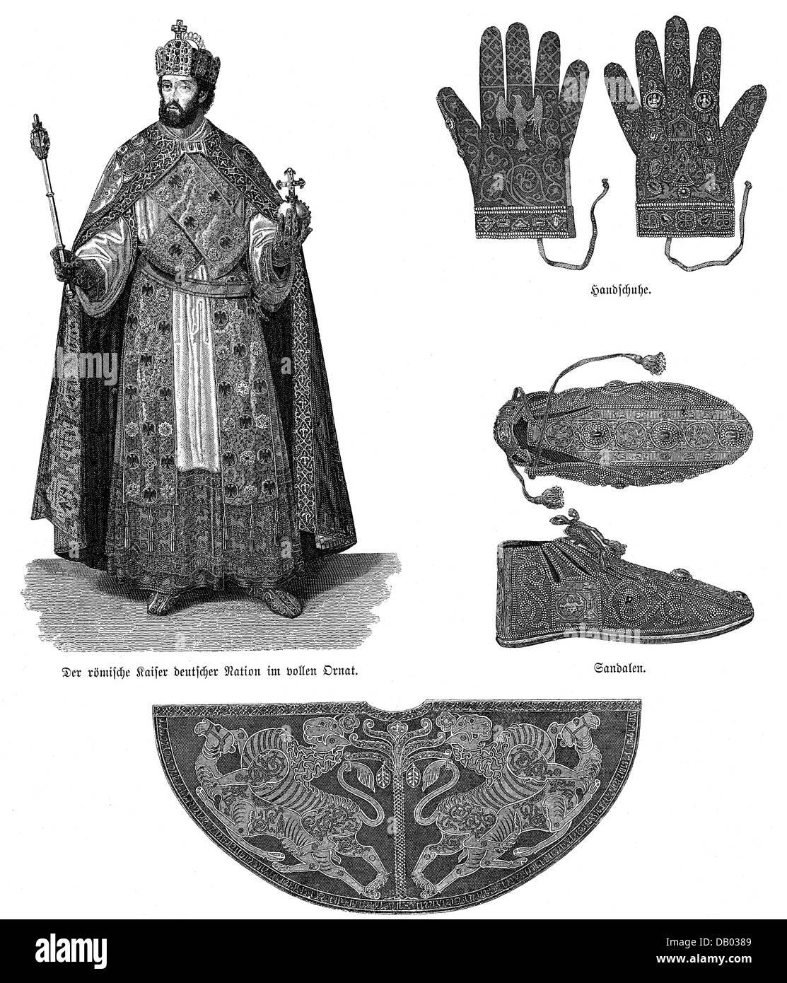 jewellery, crown jewels, Imperial Regalia, Holy Roman Empire, regalia, glove, gloves, sandal, sandals, Pluviale, - Stock Image