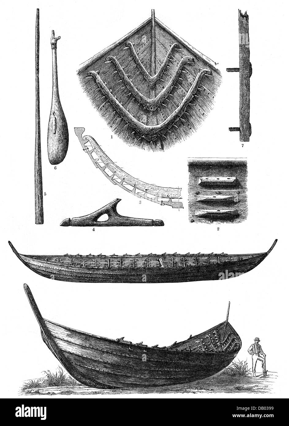 transport / transportation, navigation, Nydam oak boat, 4th century AD, found on 18.8.1863 at the Nydam Mose, wood Stock Photo