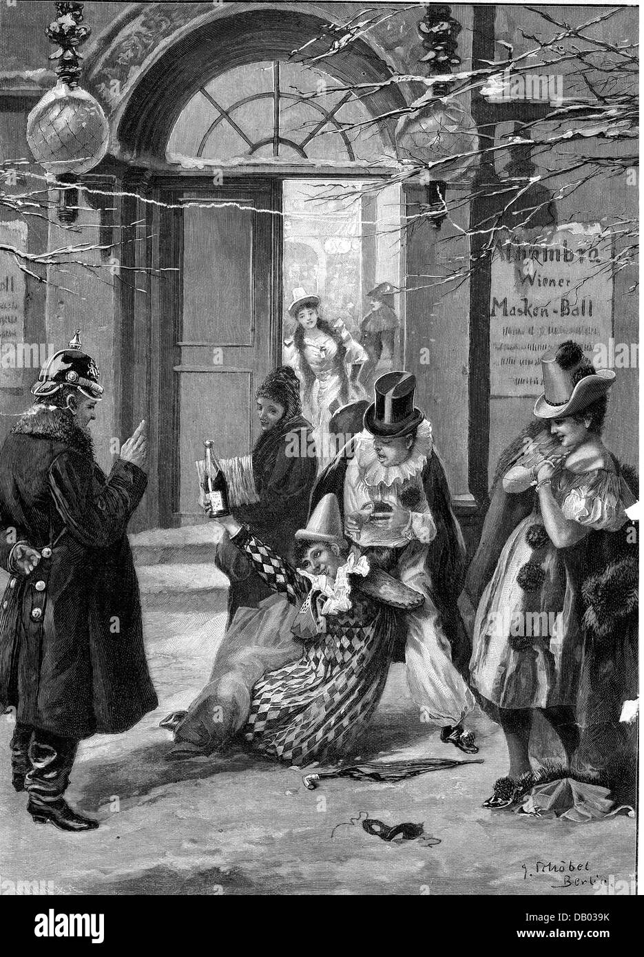 festivity, carnival, 'After the masked-ball', drunken woman is admonished by a police officer, wood engraving - Stock Image