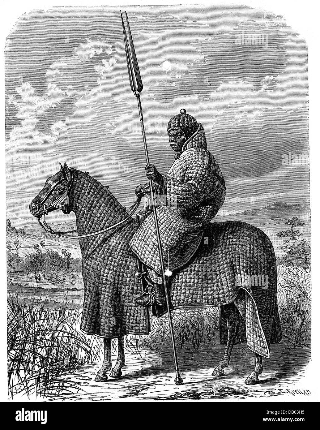 military, Africa, Chad, Kingdom of Baguirmi, mounted warrior, wood engraving by E. Krell, 19th century, Central - Stock Image