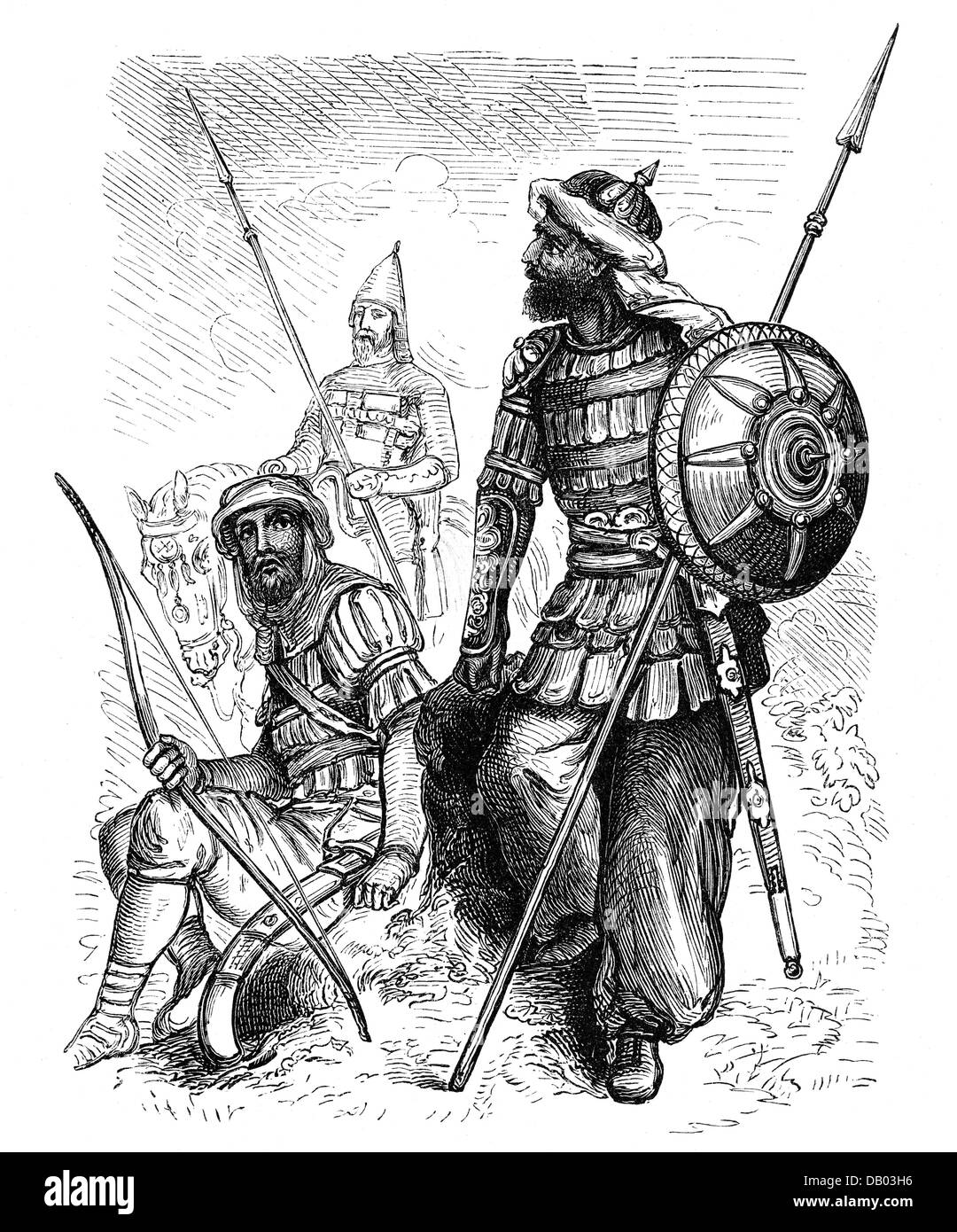 military, Middle Ages, Saracen warriors, wood engraving, 19th century, Saracens, Saracen, fighter, soldier, soldiers, - Stock Image