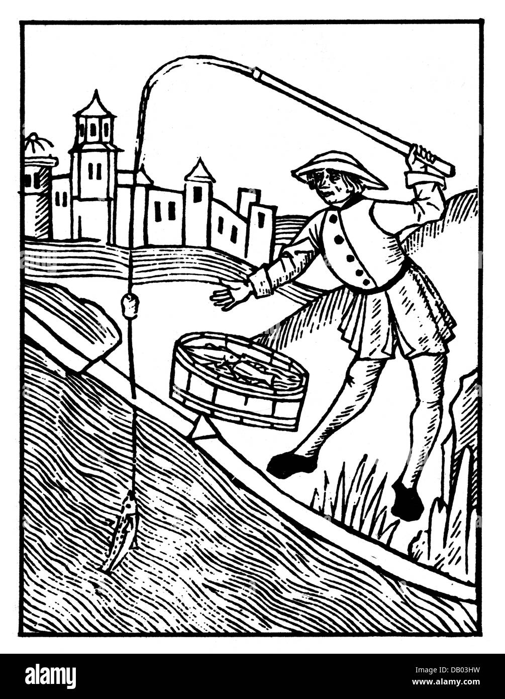 fishing, angling, fisher with fishing rod, woodcut, 'Book of Saint Albans', England, 1486, Additional-Rights - Stock Image