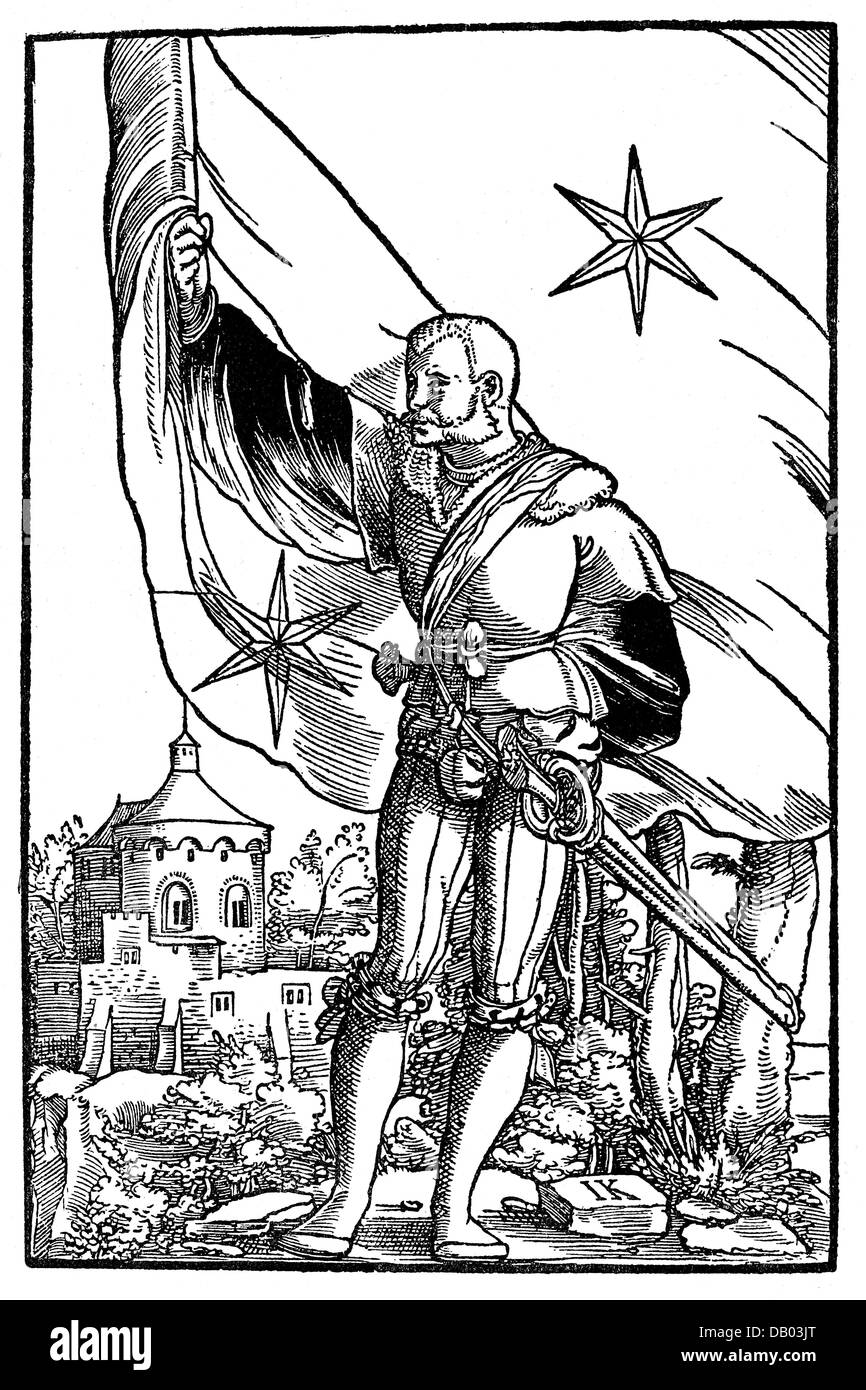 military, Germany, 16th century, standard-bearer of the free imperial city of Kaufbeuren, woodcut from 'Wapen', - Stock Image