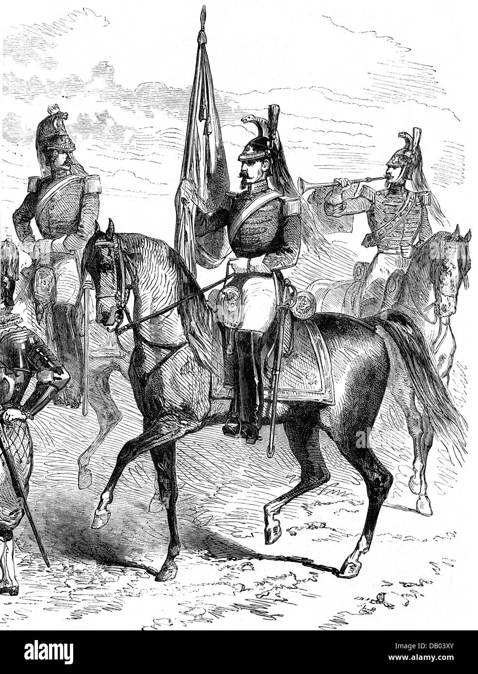 military, Italy, Vatican, guards, Noble Guard, horseman, standard bearer and trumpeter, wood engraving, 'Die - Stock Image
