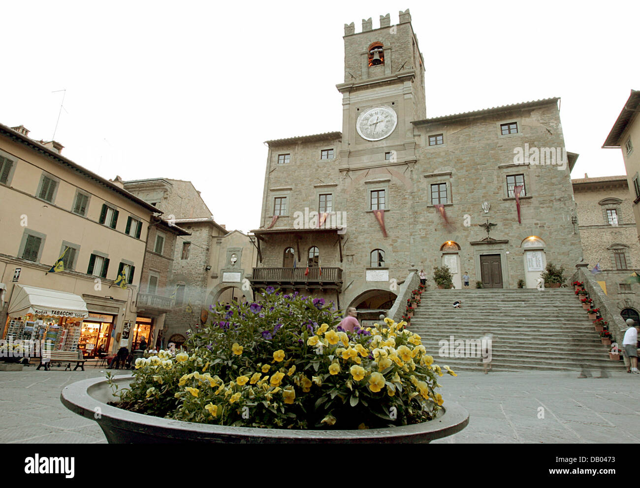 View on the town hall of Cortona, Italy, 23 May 2007. For the 5th time the 'Tuscan Sun Festival' takes place - Stock Image