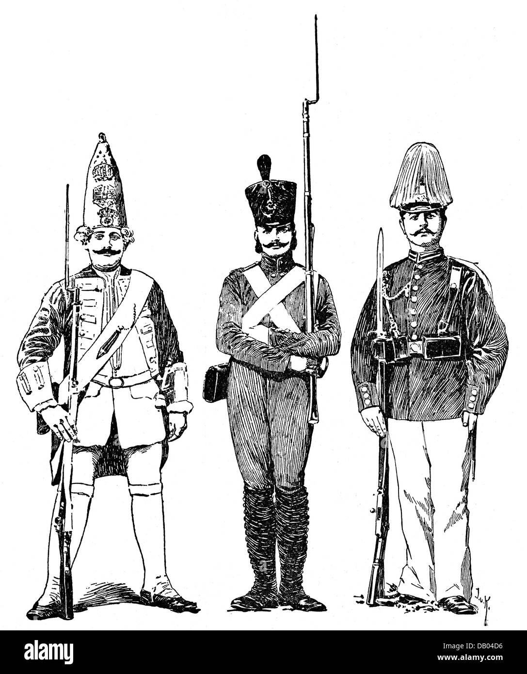 military, uniforms, Germany, Mecklenburg, uniforms of the company Leibgarde zu Fuss, later 2nd Battalion, Grand - Stock Image