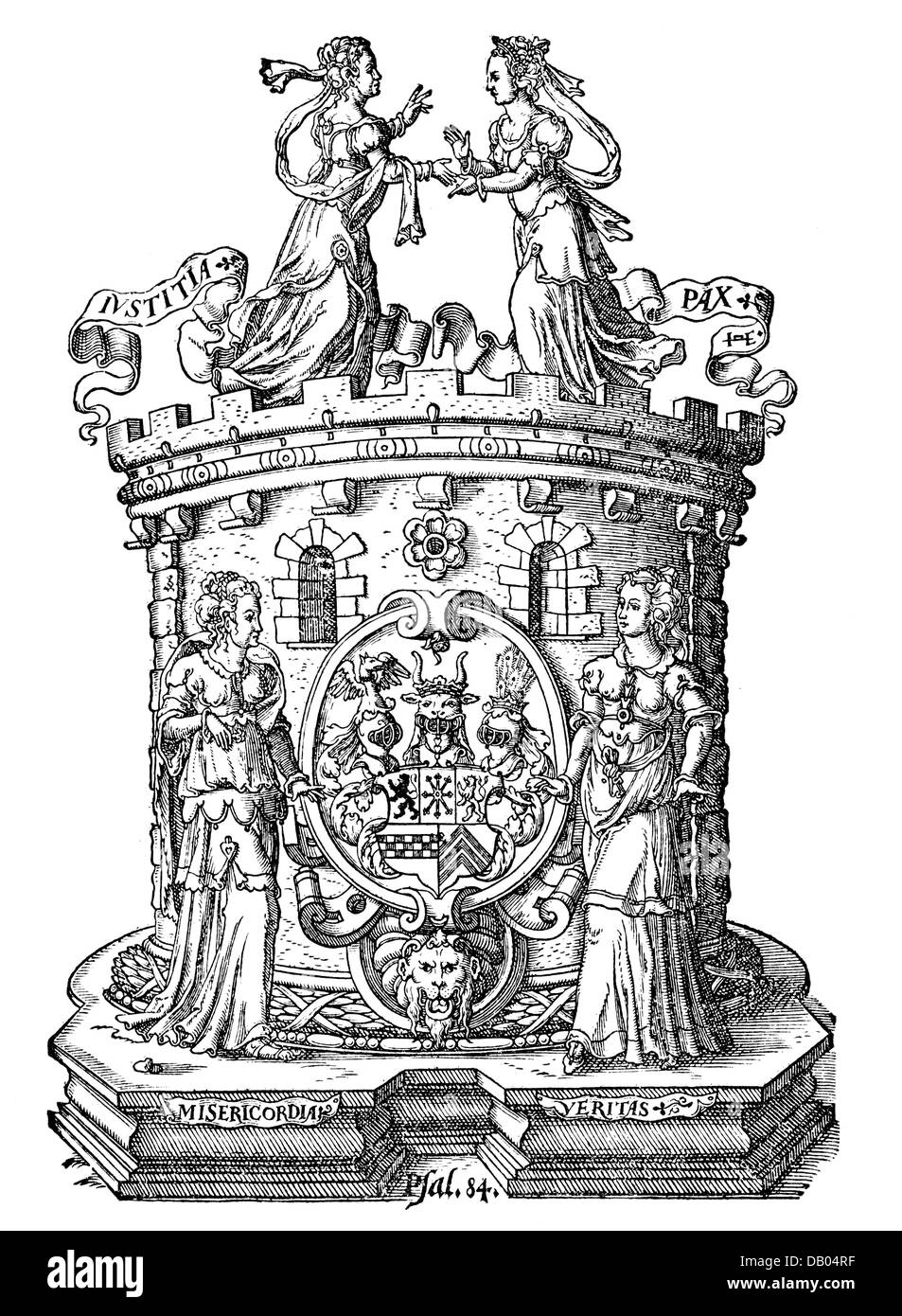 justice, allegories, Justitia and Pax, vignette to 'Rechtsordnung' of the Duke William V of Juelich-Cleves - Stock Image