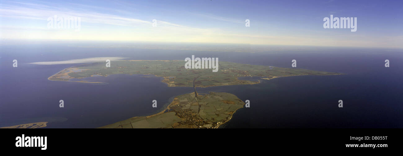 The undated handout provides an aerial view on the Fehmarnbelt between Puttgarden, Germany (bottom) and Roedby, - Stock Image