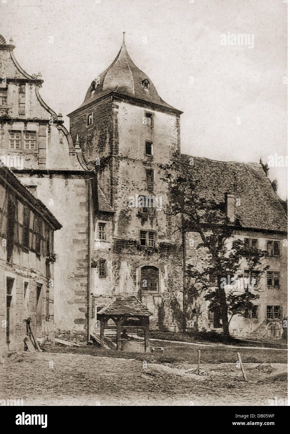 geography / travel, Germany, castles, Schlitz Castle, exterior view, front castle, picture postcard, postmarked - Stock Image