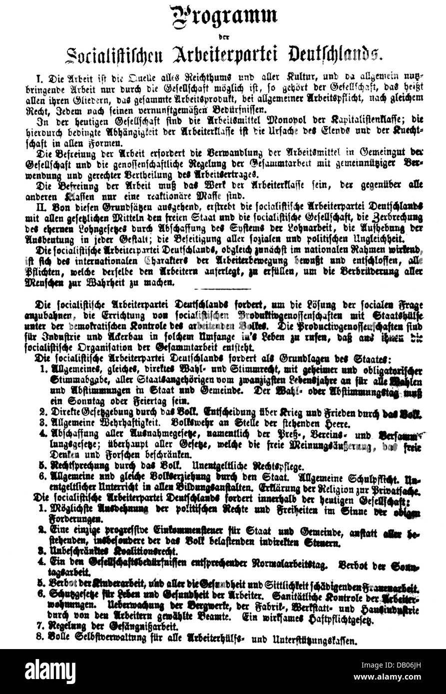 politics, Germany, parties, social democrats, unification congress of the Social-Democratic Labour Party (Sozialdemokratische - Stock Image
