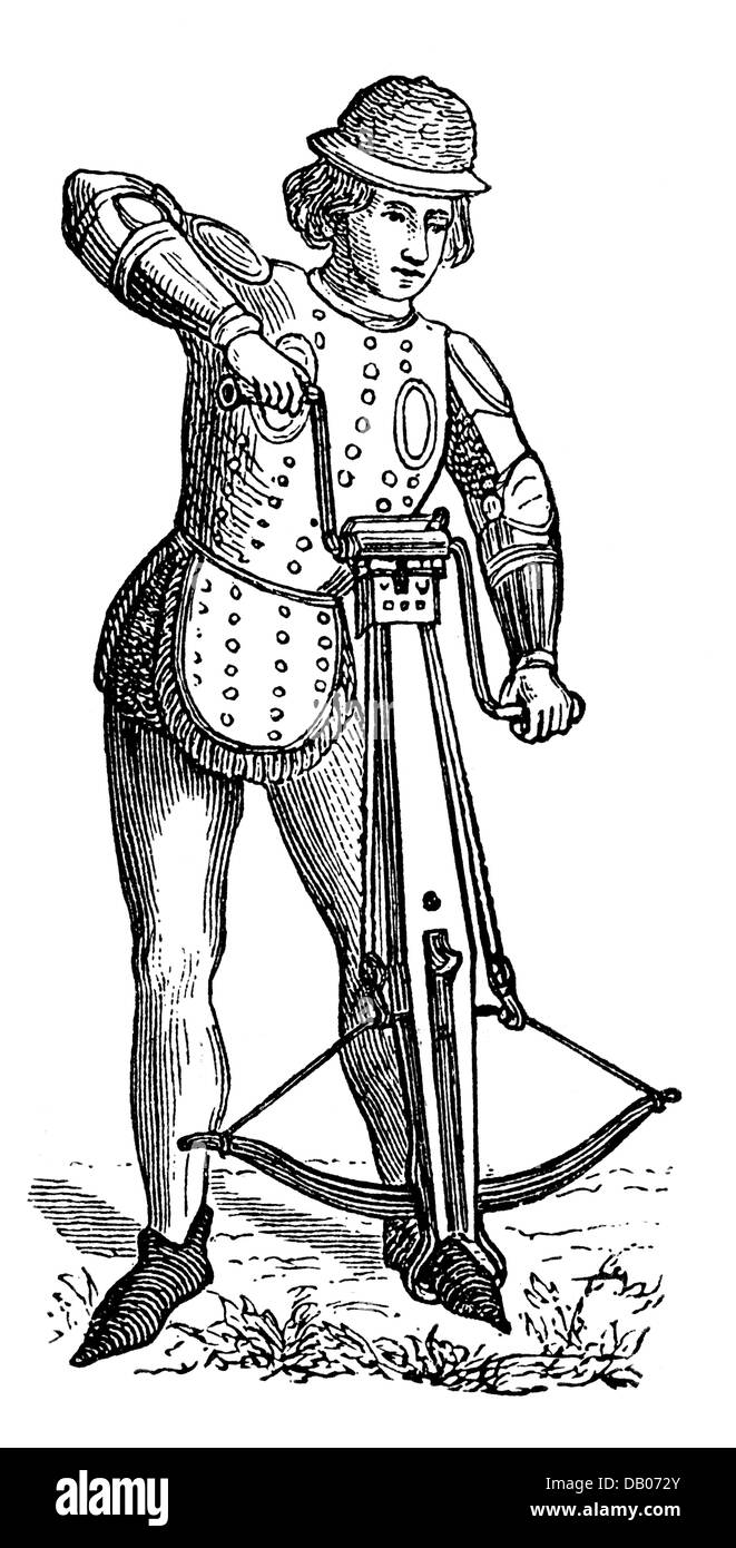 military, Middle Ages, infantry, crossbowman, spanning the crossbow with a pulley, wood engraving, 19th century, - Stock Image