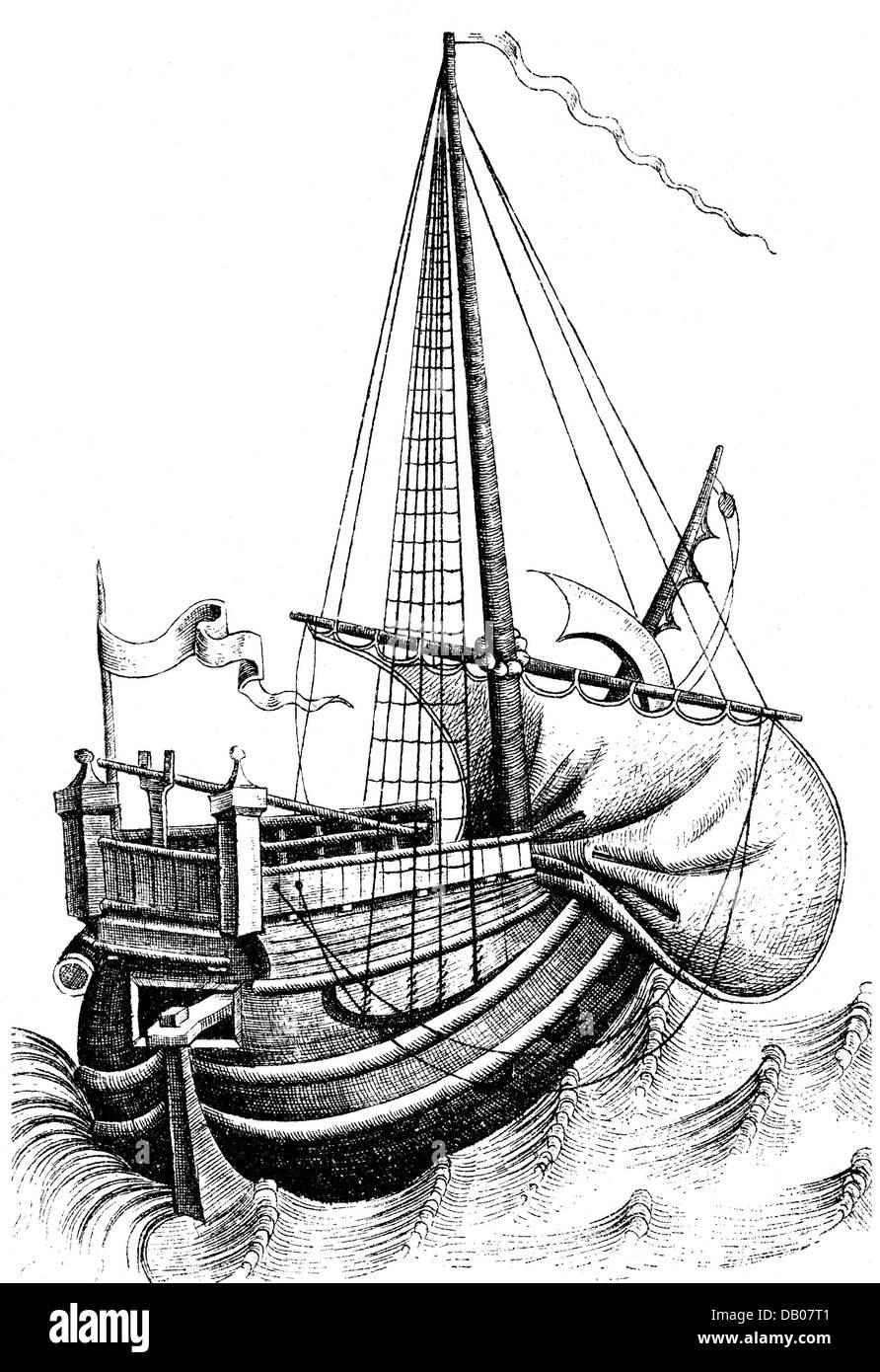 transport / transportation, navigation, sailing ships, cog, copper engraving, 15th century, cogs, sailing ship, - Stock Image