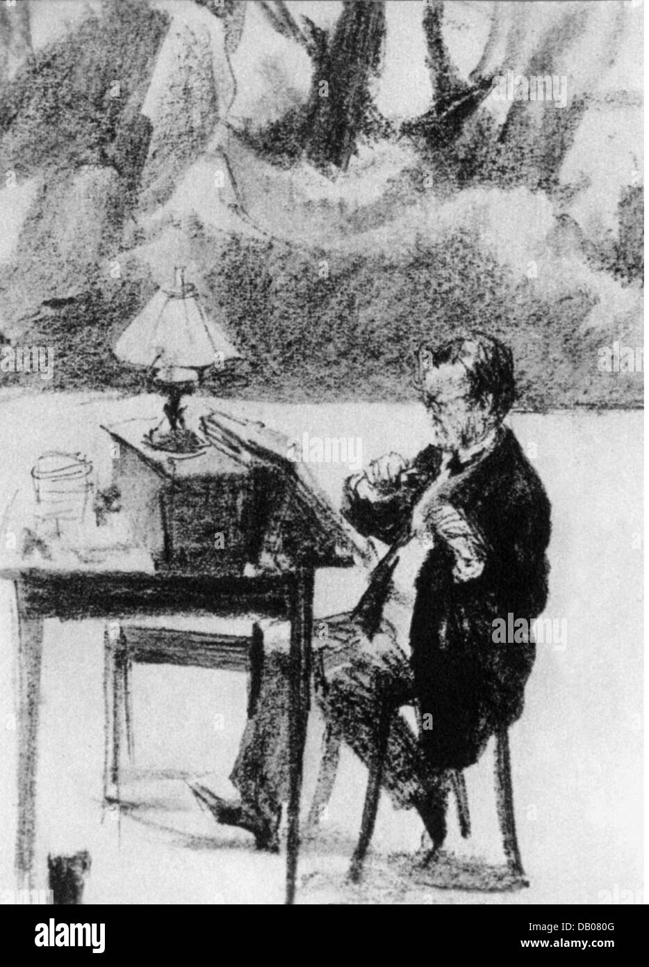 Wagner, Richard, 22.5.1813 - 13.2.1883, German composer, directing the rehearsals on the stage of the Bayreuth Festspielhaus, Stock Photo
